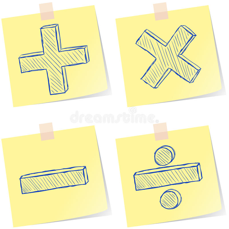 Mathematics Signs Sketches Stock Photos
