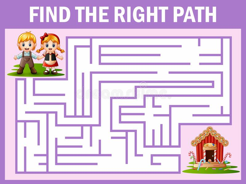 Maze game finds the hansel and grettel way to candy house royalty free illustration