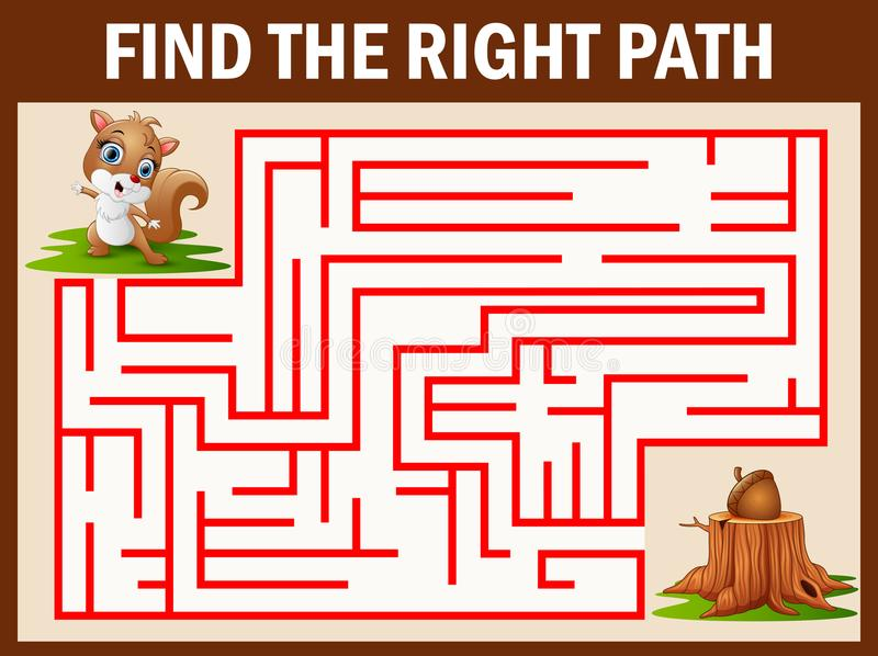 Maze game finds the squirrel walk away to walnut. Illustration of Maze game finds the squirrel walk away to walnut royalty free illustration