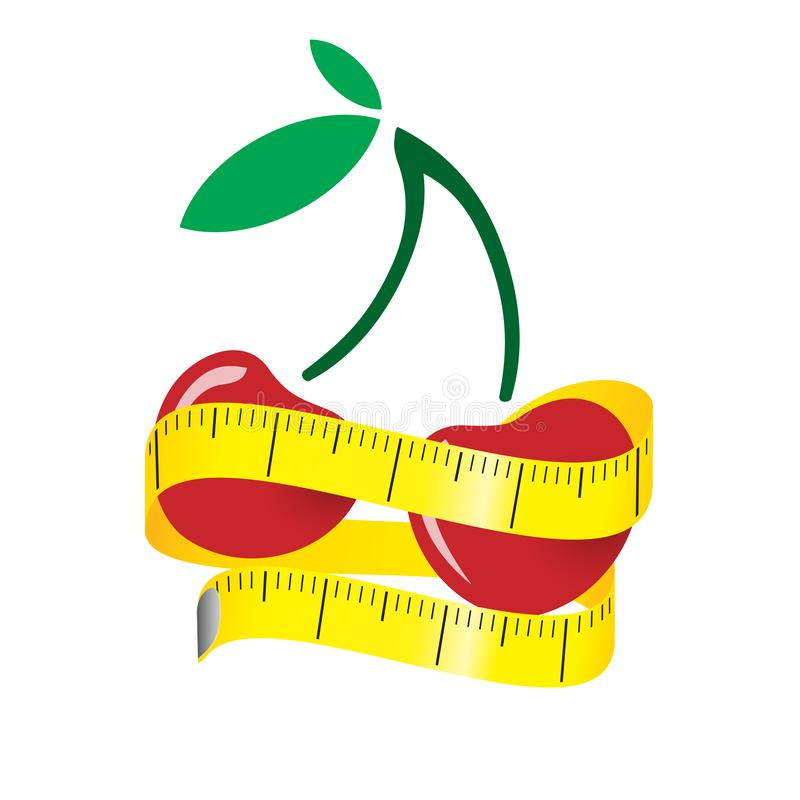Illustration of measuring tape around fresh red cherry. Diet concept. Vector illustration. Illustration of measuring tape around fresh red cherry Diet concept royalty free illustration