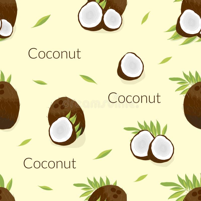 illustration med bilden av en saftig coconu vektor illustrationer