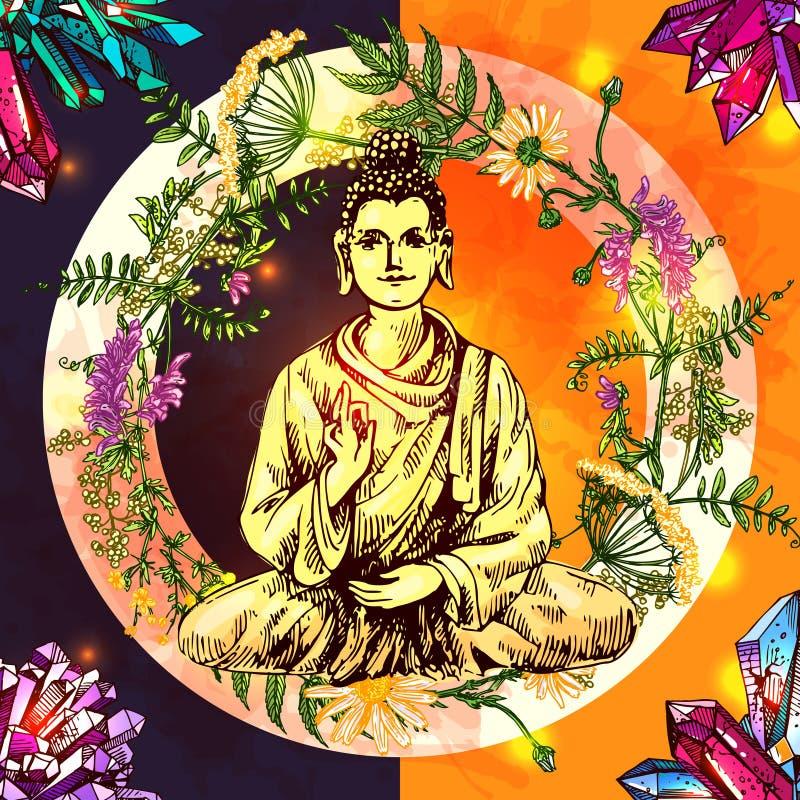 Illustration med buddha vektor illustrationer