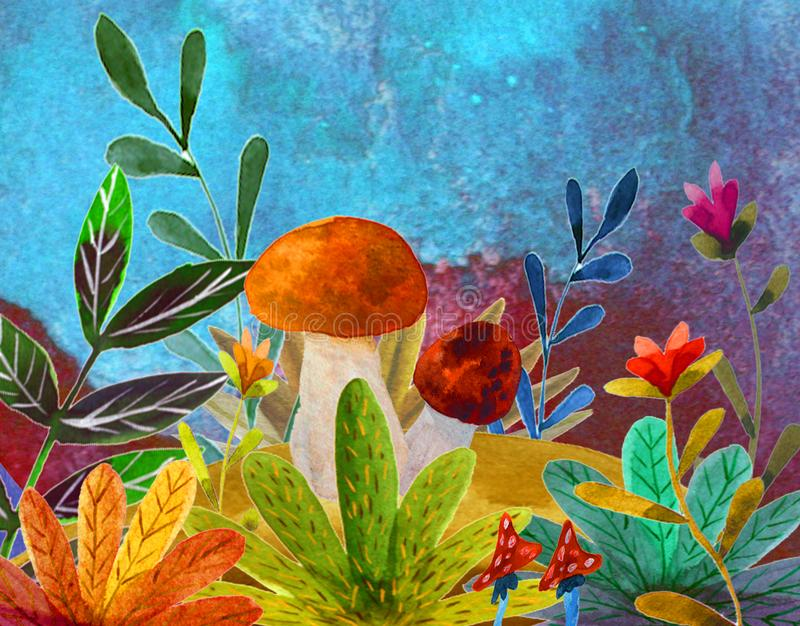 Illustration med champinjoner vektor illustrationer