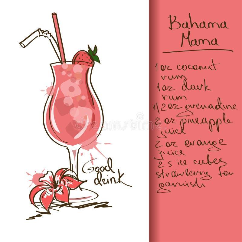 Illustration med den Bahama mammacoctailen royaltyfri illustrationer