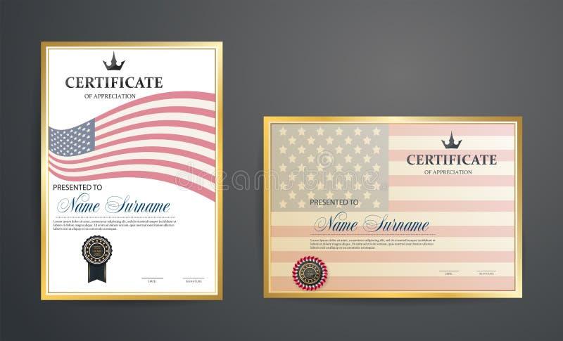 Illustration med den blom- ramen Attestering mot bakgrunden av amerikanska flaggan idérik design royaltyfri illustrationer