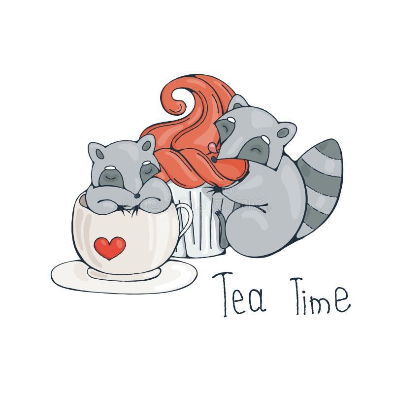Illustration med den gulliga tvättbjörnen i en kopp te eller ett kaffe med muffin stock illustrationer