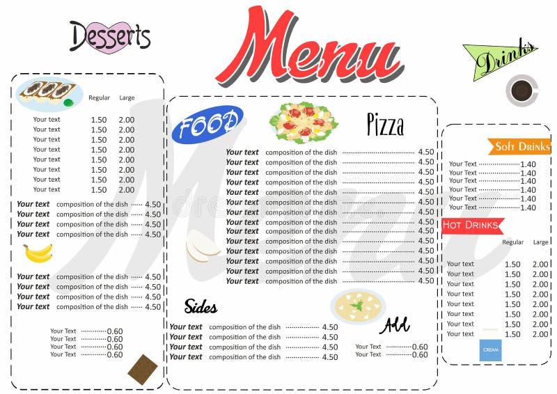 Illustration med den ljusa och färgrika och härliga menyn vektor illustrationer