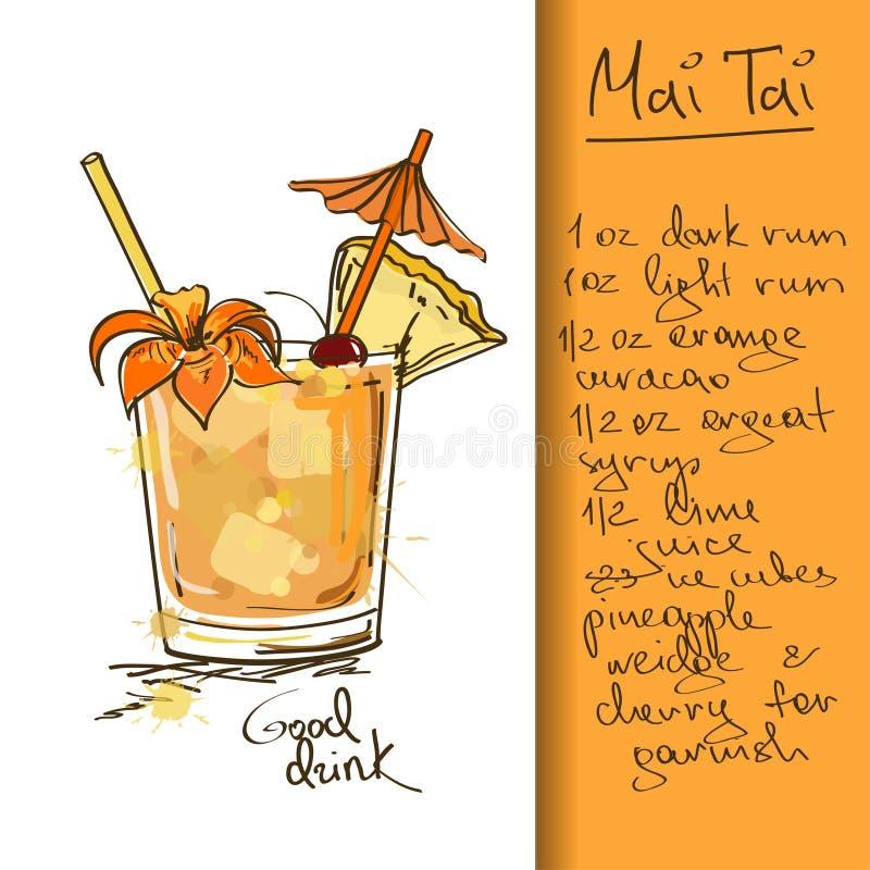 Illustration med den Mai Tai coctailen stock illustrationer