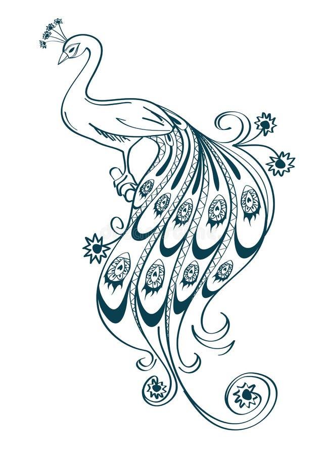 Illustration med den stiliserade dekorativa påfågeln stock illustrationer
