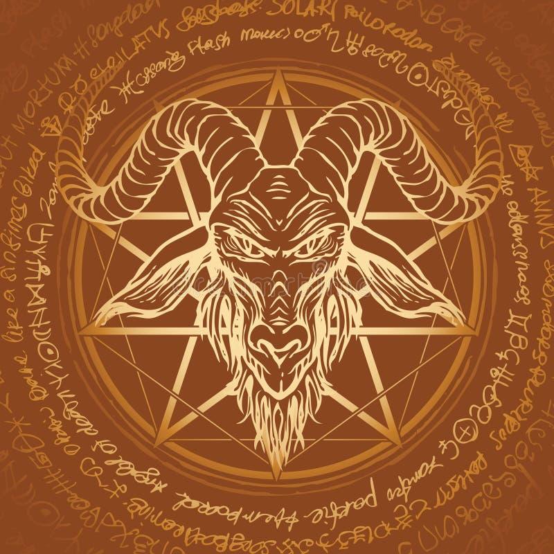 Illustration med det horned gethuvudet och pentagram stock illustrationer