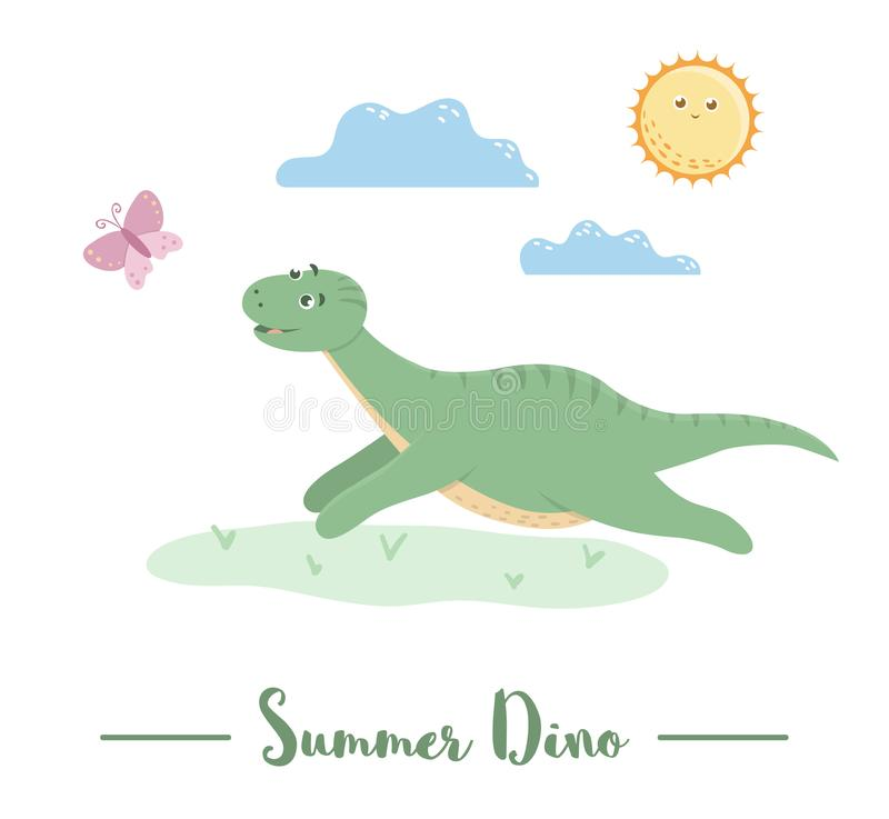 Illustration med dino som kör för en fjäril under solen vektor illustrationer