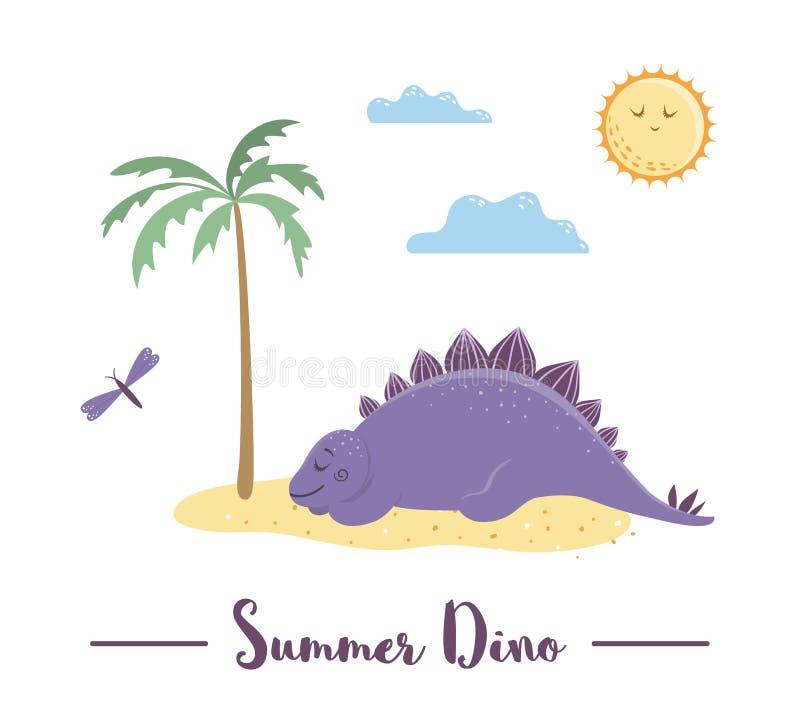 Illustration med dino som solbadar eller sover under palmträdet vektor illustrationer