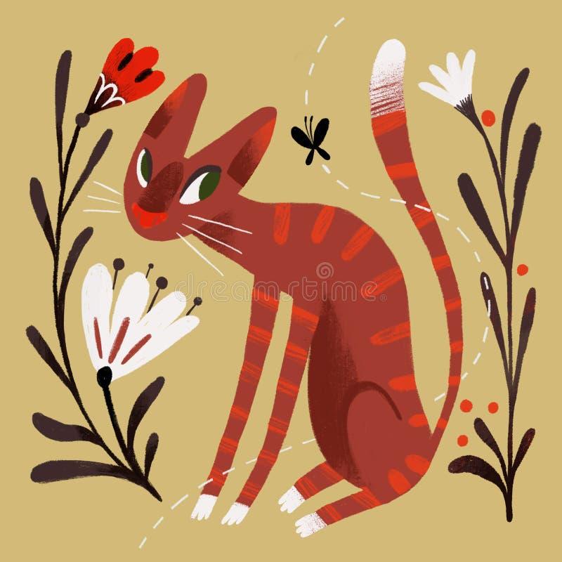Illustration med en katt fotografering för bildbyråer