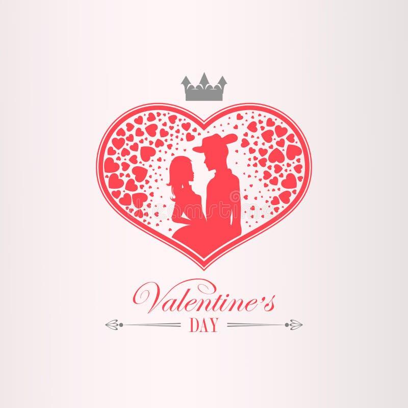 Illustration med en kontur av en hjärta, ett förälskat par, en man i en hatt och en flicka, royaltyfri illustrationer