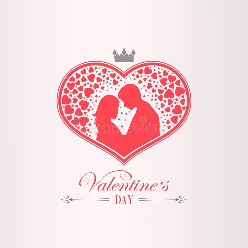 Illustration med en kontur av en hjärta med en krona, män och kvinnor, stock illustrationer