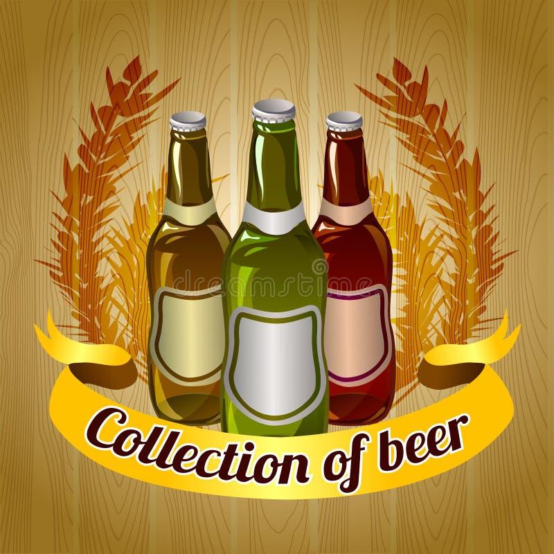 Illustration med flaskor av öl, träbakgrund royaltyfri illustrationer