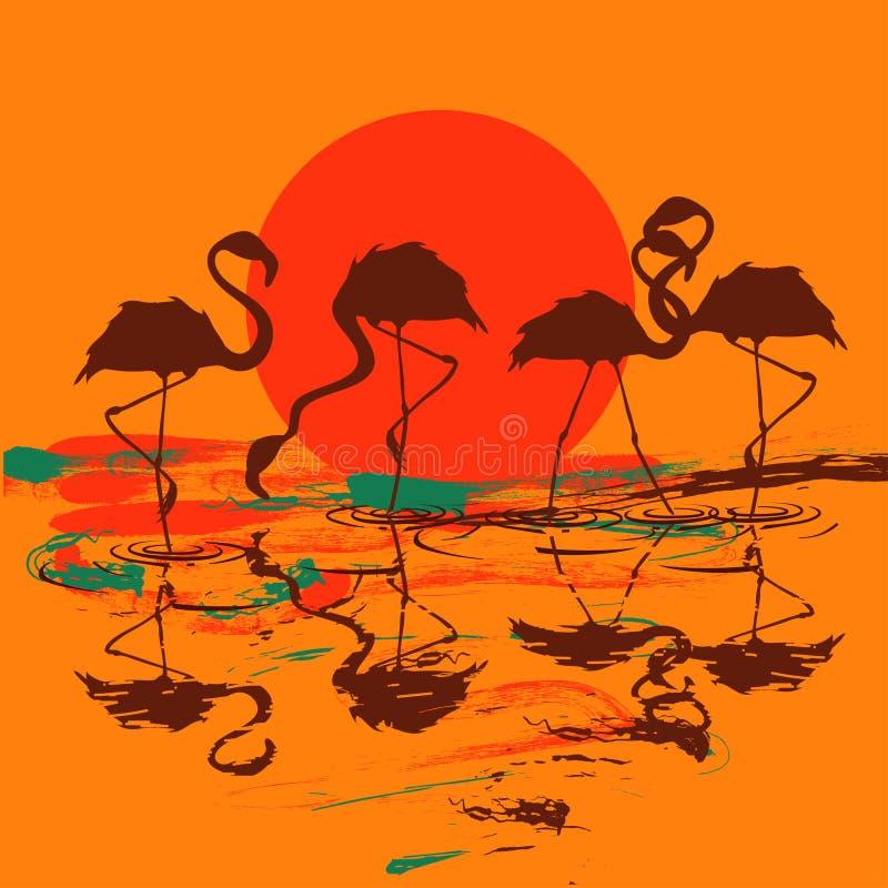 Illustration med flocken av flamingo på solnedgången eller