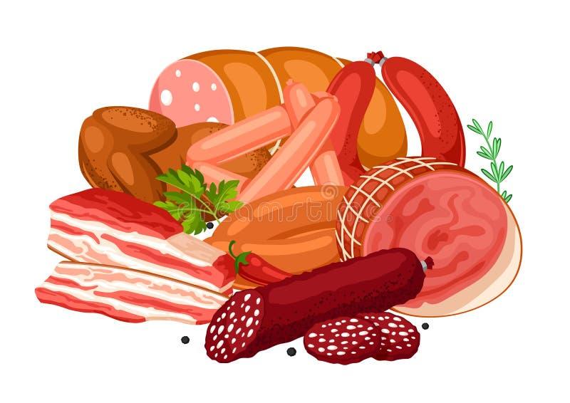 Illustration med köttprodukter Illustration av korvar, bacon och skinka stock illustrationer