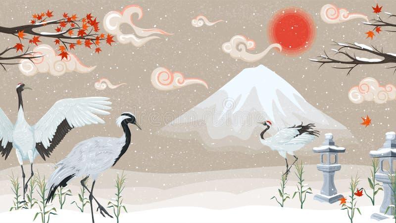 Illustration med kranar på en bakgrund av berg på solnedgången stock illustrationer