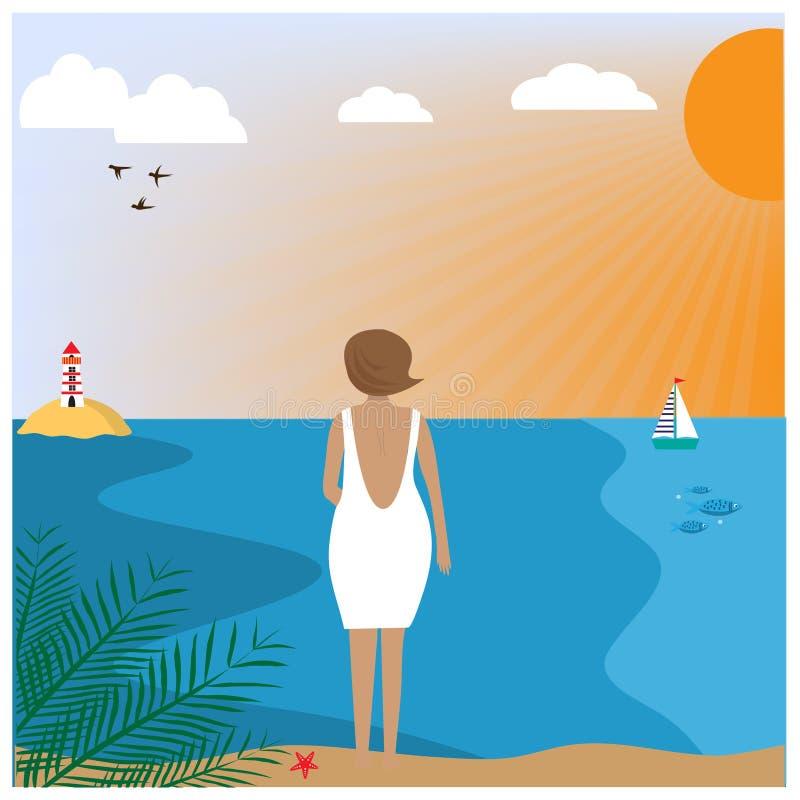 Illustration med kvinnan som bär i ett vitt klänninganseende på stranden stock illustrationer