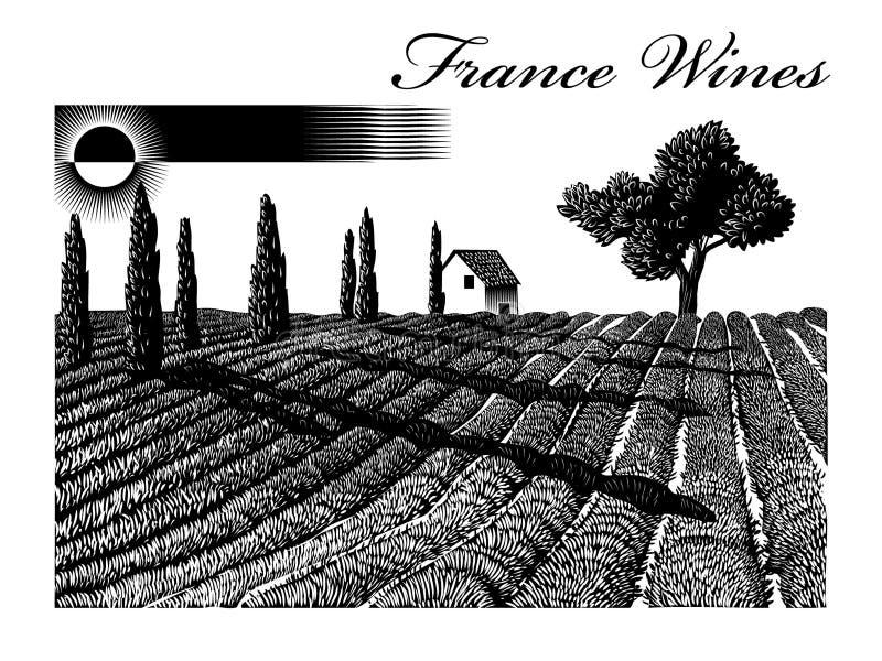 Illustration med sikter av Provence vektor illustrationer