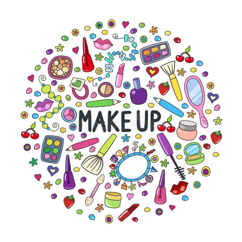 Illustration med skönhetsmedelsymboler Den gulliga klottervektorn utgör konst Kosmetiska objekt för utgör och skönhet stock illustrationer