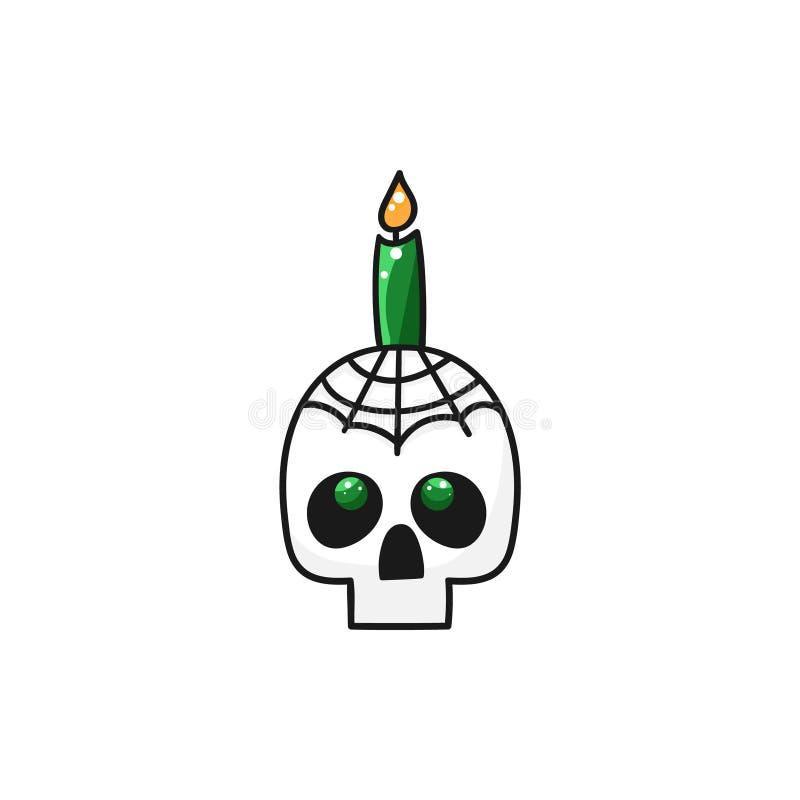 Illustration med skallen och stearinljuset stock illustrationer