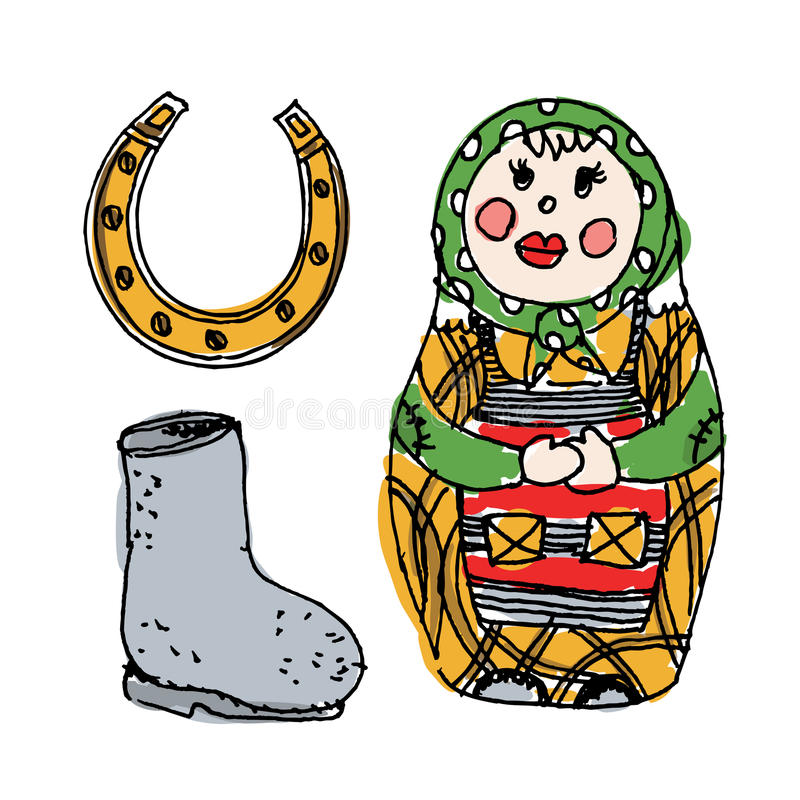 Illustration med traditionella ryska symboler: bygga bo docka, valenok och hors royaltyfri illustrationer