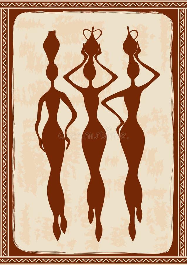 Illustration med tre härliga afrikanska kvinnor royaltyfri illustrationer