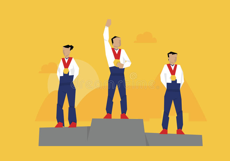 Download Illustration Of Medal Winners Standing On Podium At Event Stock Vector - Illustration: 74498436