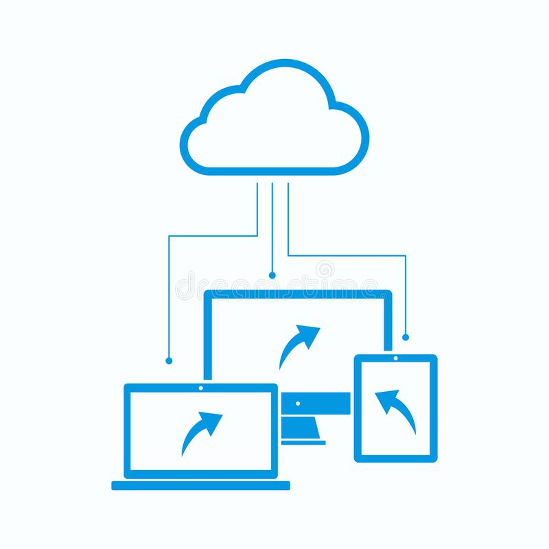 Media Connected Cloud Computing System. Illustration of media sharing with cloud system technology using laptop, computer and tablet royalty free illustration