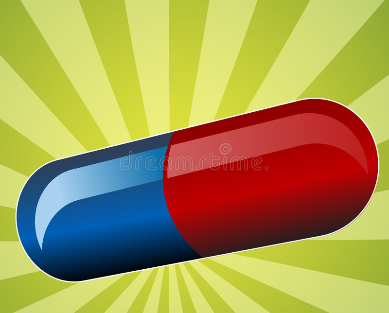 Illustration of medical pill. Medicine capsule in blue and red Vector illustration available for download. Click here for more vectors vector illustration