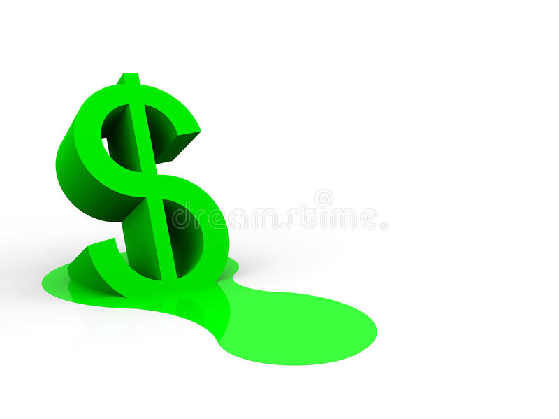 A Illustration Of A Melting Dollar Trade Currency Royalty Free Stock Photos