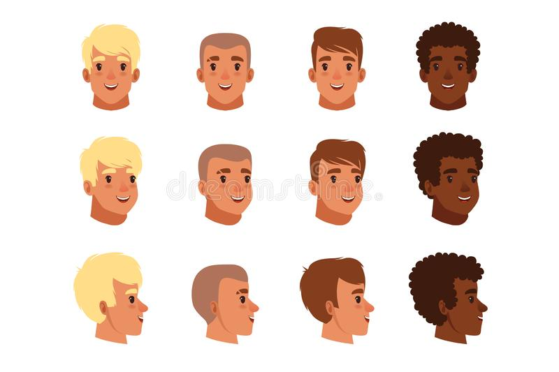 Illustration of men head avatars set with different haircuts. Classical trendy hairstyle, curly hair, bald. Flat design. Illustration of men head avatars set stock illustration