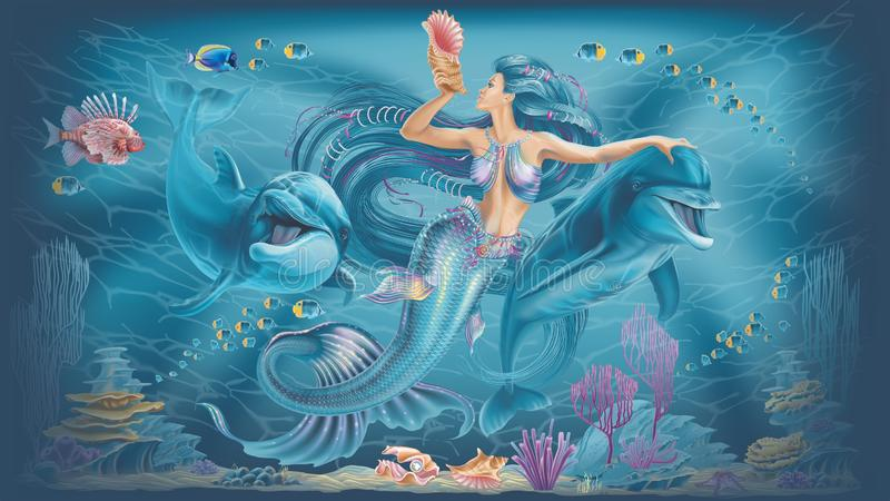 Illustration of a mermaid and dolphins stock illustration