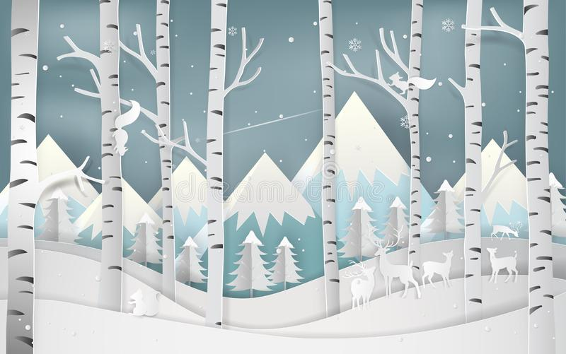 Illustration of merry christmas day and new year greeting card c. Oncept. Winter season and beautiful of forest woods with mountains landscape background. Paper stock illustration