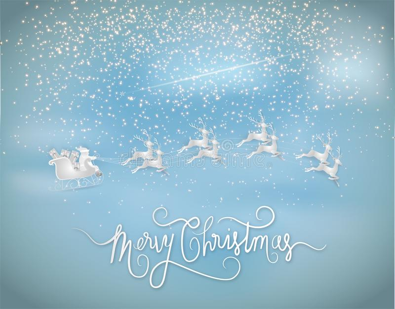 Illustration of Merry christmas and new year. Santa claus giveing a gift with reindeer and stars is glitter in the sky. Paper art. And digital craft style royalty free illustration