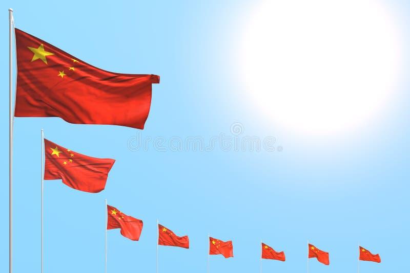 Illustration merveilleuse du drapeau 3d de festin - beaucoup de drapeaux de la Chine ont placé diagonal sur le ciel bleu avec l'e illustration libre de droits