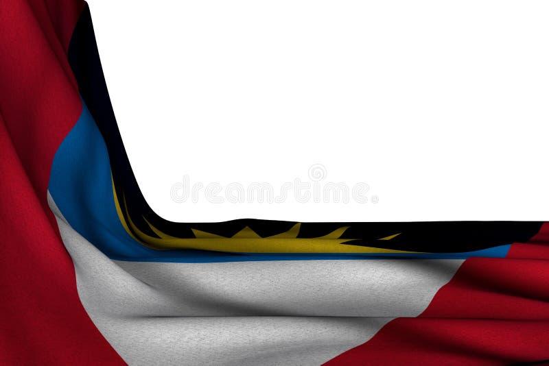 Illustration merveilleuse du drapeau 3d de festin - maquette d'isolement de diagonale accrochante de drapeau de l'Antigua-et-Barb illustration stock