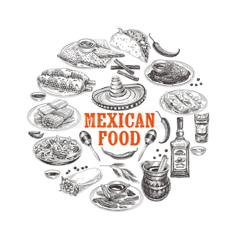 Illustration mexicaine tirée par la main de croquis de nourriture de vecteur de vintage illustration de vecteur
