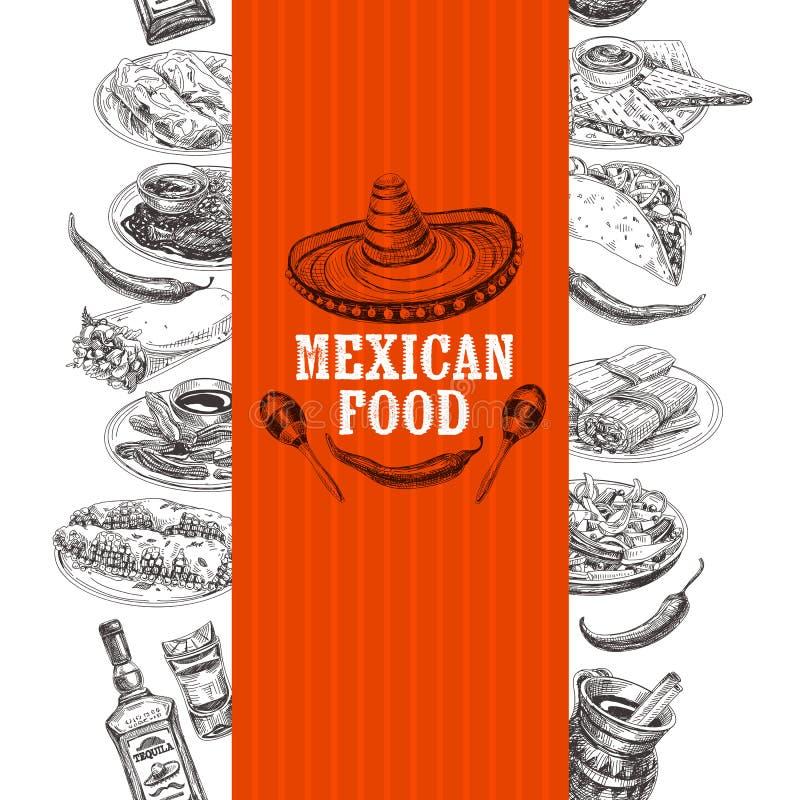 Illustration mexicaine tirée par la main de croquis de nourriture de vecteur de vintage illustration stock