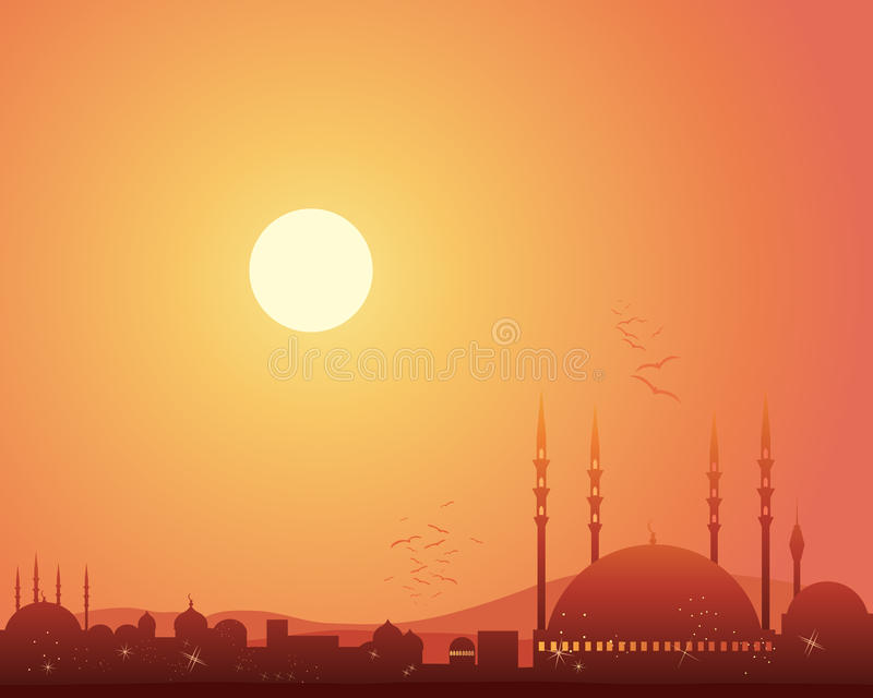 Mosque at sunset stock illustration