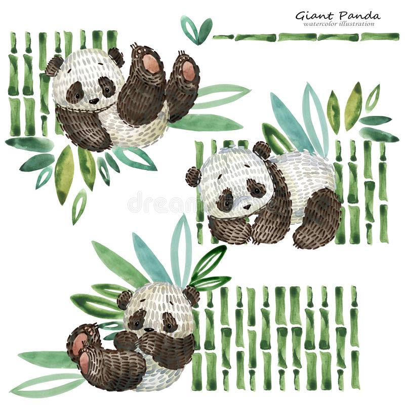 Illustration mignonne d'aquarelle de panda de bande dessinée illustration libre de droits