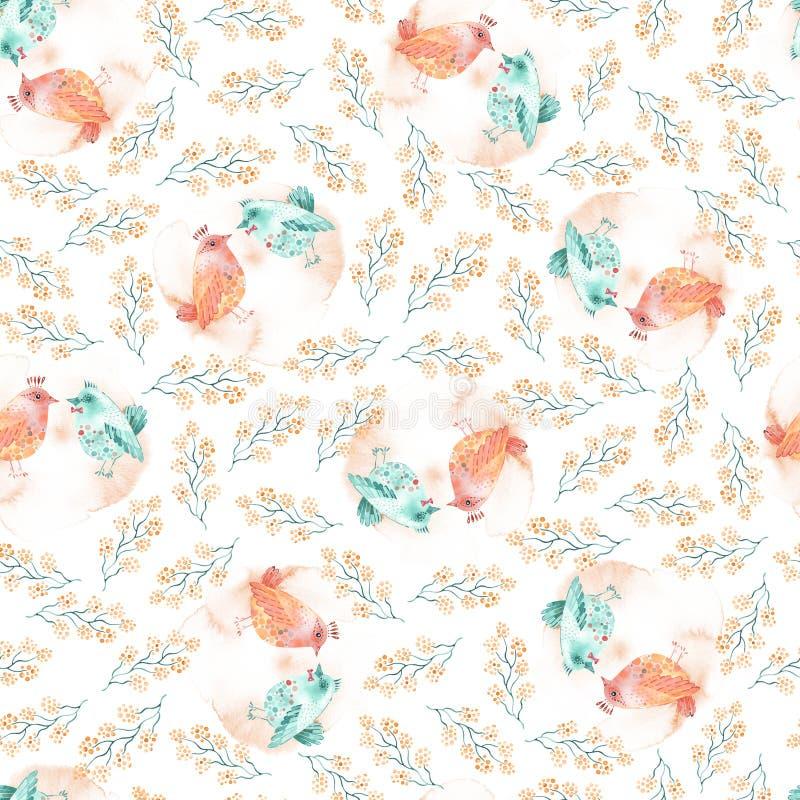 Illustration mignonne d'oiseaux d'aquarelle Modèle sans couture de Saint-Valentin avec de beaux oiseaux et branches illustration stock