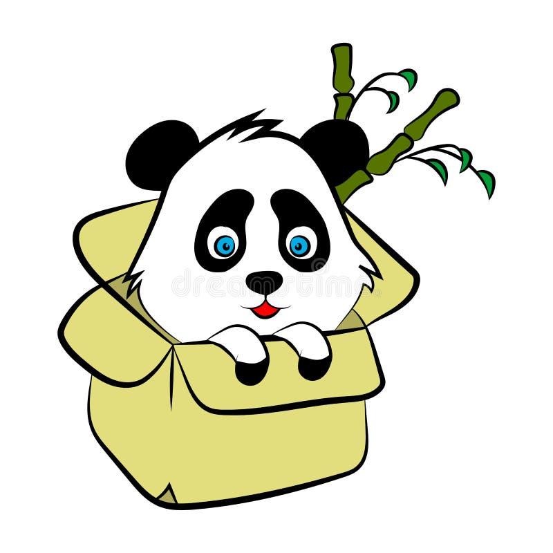 Illustration mignonne d'ours panda, carte simple de style, affiche illustration de vecteur