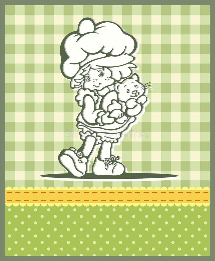 Illustration mignonne de bébé dans le rétro type illustration stock