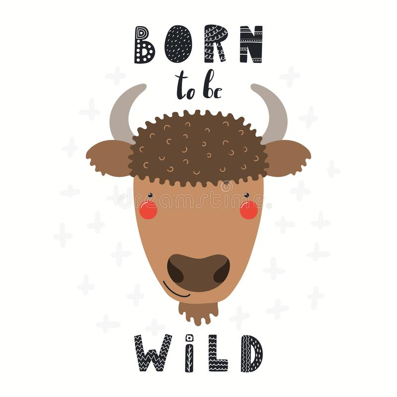 Illustration mignonne de bison illustration stock