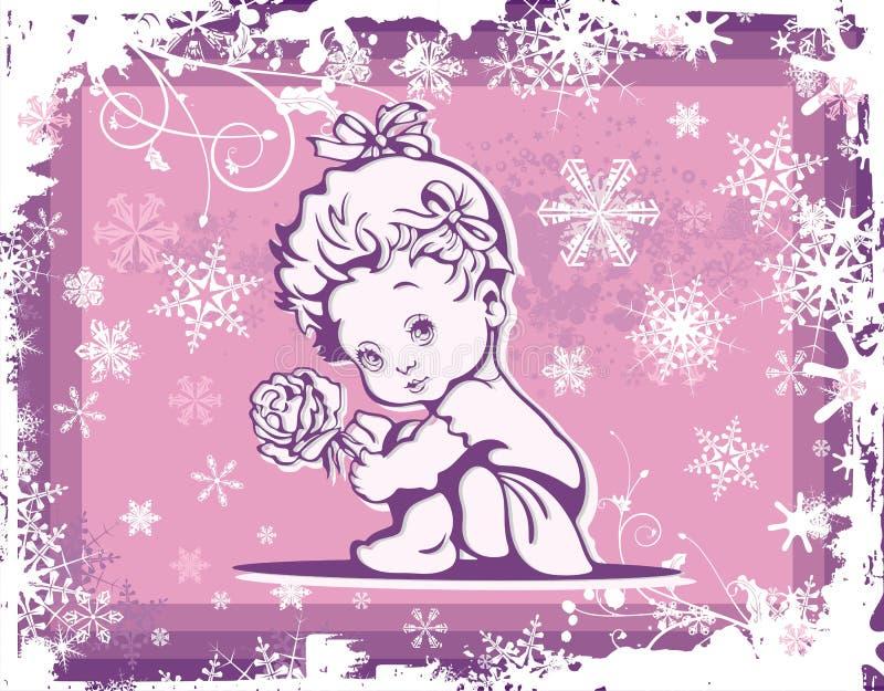 Illustration mignonne de chéri au-dessus de configuration de l'hiver illustration libre de droits