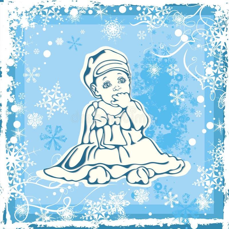 Illustration mignonne de chéri au-dessus de configuration de l'hiver illustration stock