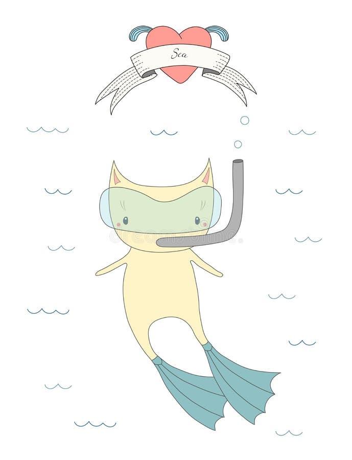 Illustration mignonne de chat de plongée illustration libre de droits